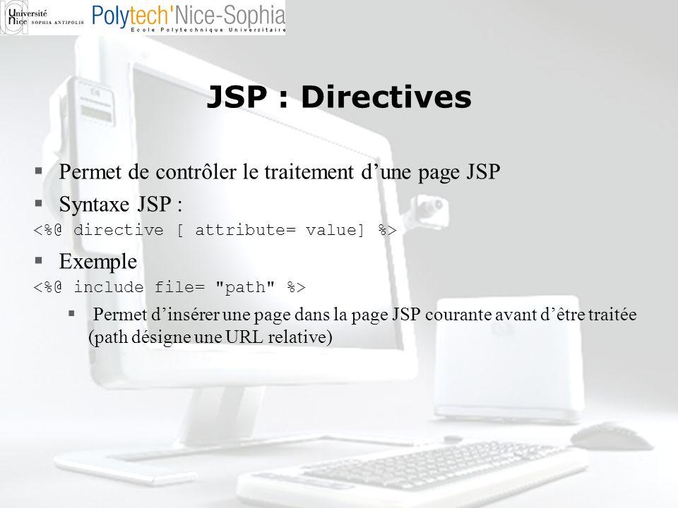 JSP : Directives Permet de contrôler le traitement dune page JSP Syntaxe JSP : Exemple Permet dinsérer une page dans la page JSP courante avant dêtre