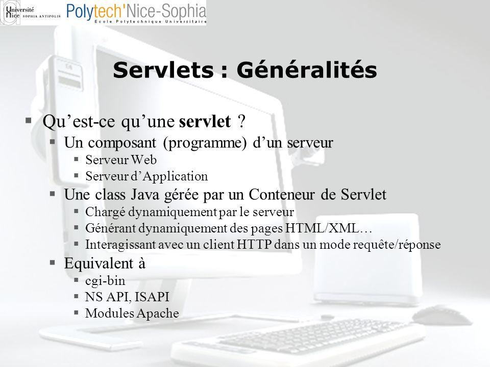 Servlets : Généralités Quest-ce quune servlet ? Un composant (programme) dun serveur Serveur Web Serveur dApplication Une class Java gérée par un Cont