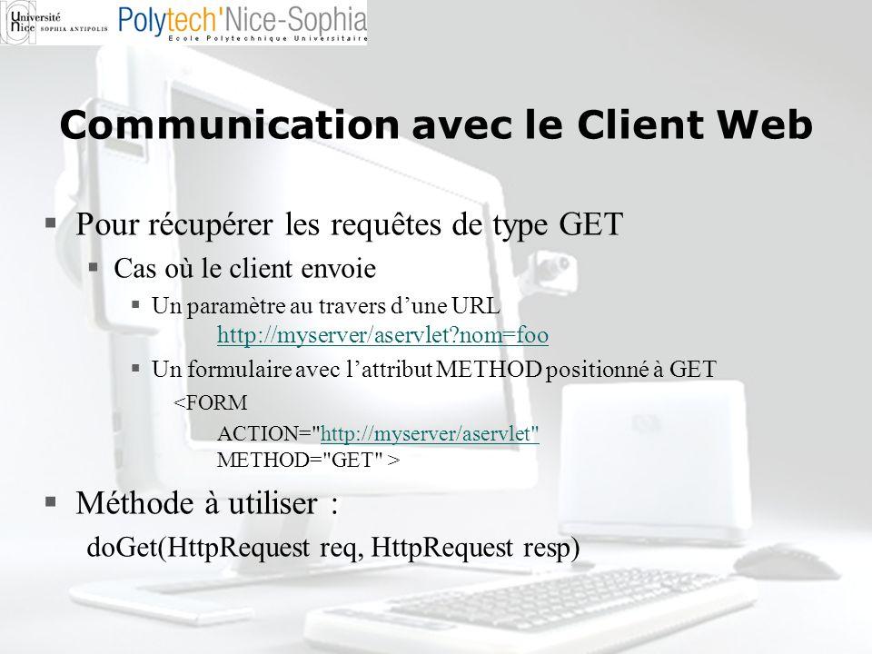 Communication avec le Client Web Pour récupérer les requêtes de type GET Cas où le client envoie Un paramètre au travers dune URL http://myserver/aser