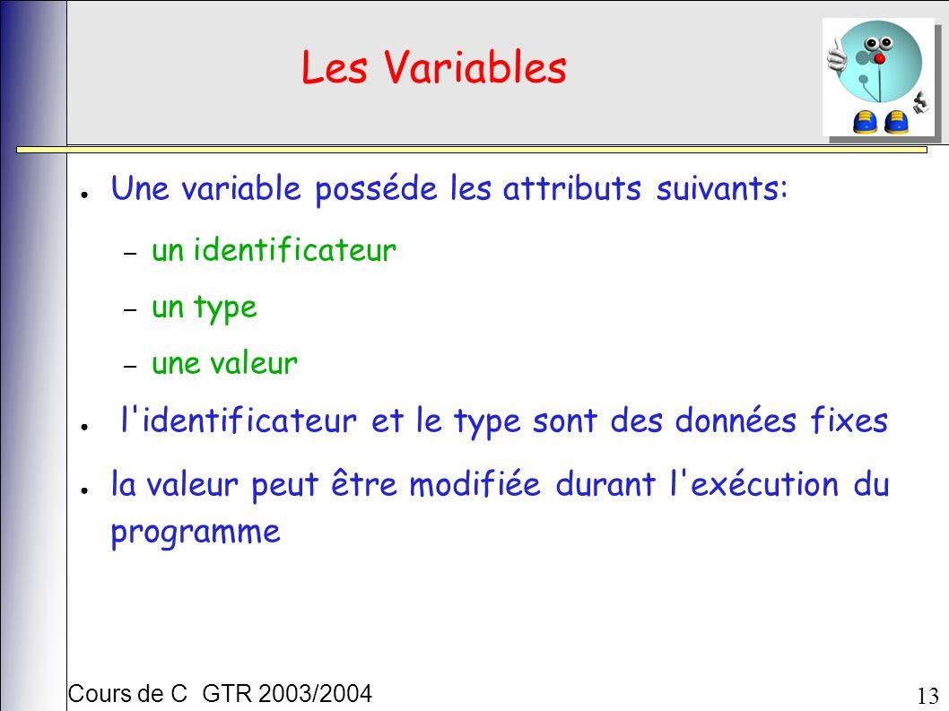 Cours de C GTR 2003/2004 13 Les Variables Une variable posséde les attributs suivants: – un identificateur – un type – une valeur l identificateur et le type sont des données fixes la valeur peut être modifiée durant l exécution du programme