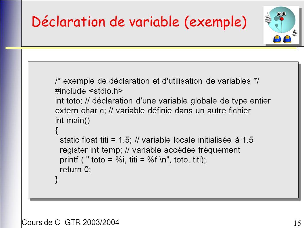 Cours de C GTR 2003/2004 15 Déclaration de variable (exemple) /* exemple de déclaration et d utilisation de variables */ #include int toto; // déclaration d une variable globale de type entier extern char c; // variable définie dans un autre fichier int main() { static float titi = 1.5; // variable locale initialisée à 1.5 register int temp; // variable accédée fréquement printf ( toto = %i, titi = %f \n , toto, titi); return 0; } /* exemple de déclaration et d utilisation de variables */ #include int toto; // déclaration d une variable globale de type entier extern char c; // variable définie dans un autre fichier int main() { static float titi = 1.5; // variable locale initialisée à 1.5 register int temp; // variable accédée fréquement printf ( toto = %i, titi = %f \n , toto, titi); return 0; }