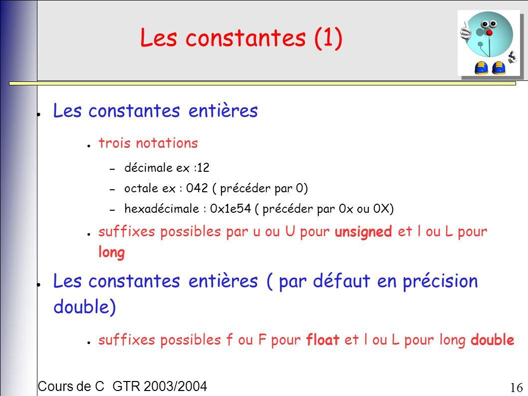 Cours de C GTR 2003/2004 16 Les constantes (1) Les constantes entières trois notations – décimale ex :12 – octale ex : 042 ( précéder par 0) – hexadécimale : 0x1e54 ( précéder par 0x ou 0X) suffixes possibles par u ou U pour unsigned et l ou L pour long Les constantes entières ( par défaut en précision double) suffixes possibles f ou F pour float et l ou L pour long double
