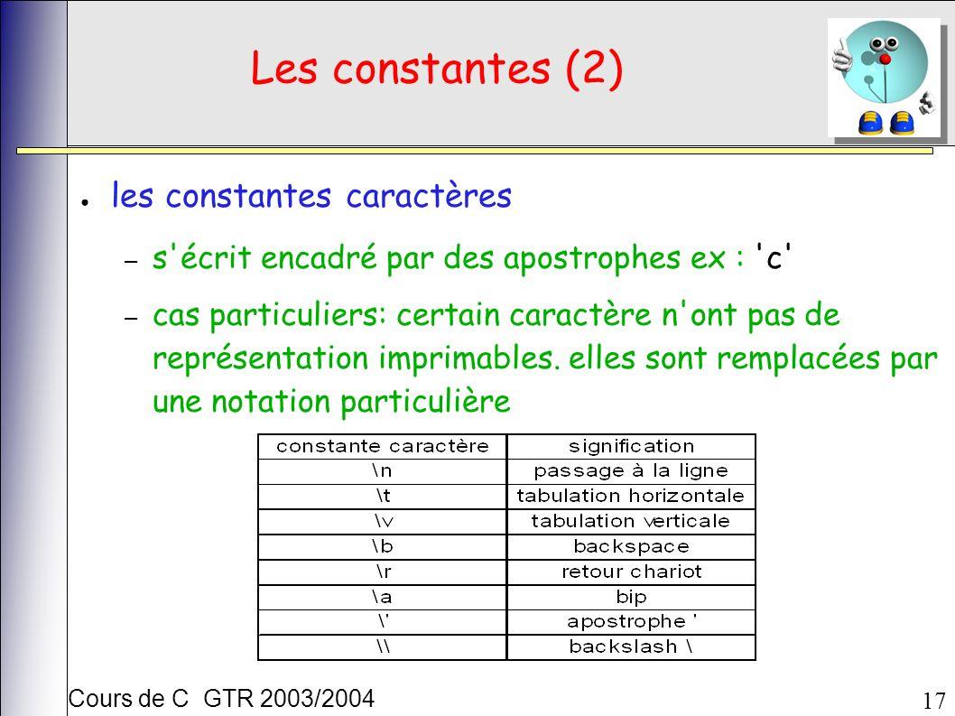 Cours de C GTR 2003/2004 17 Les constantes (2) les constantes caractères – s écrit encadré par des apostrophes ex : c – cas particuliers: certain caractère n ont pas de représentation imprimables.