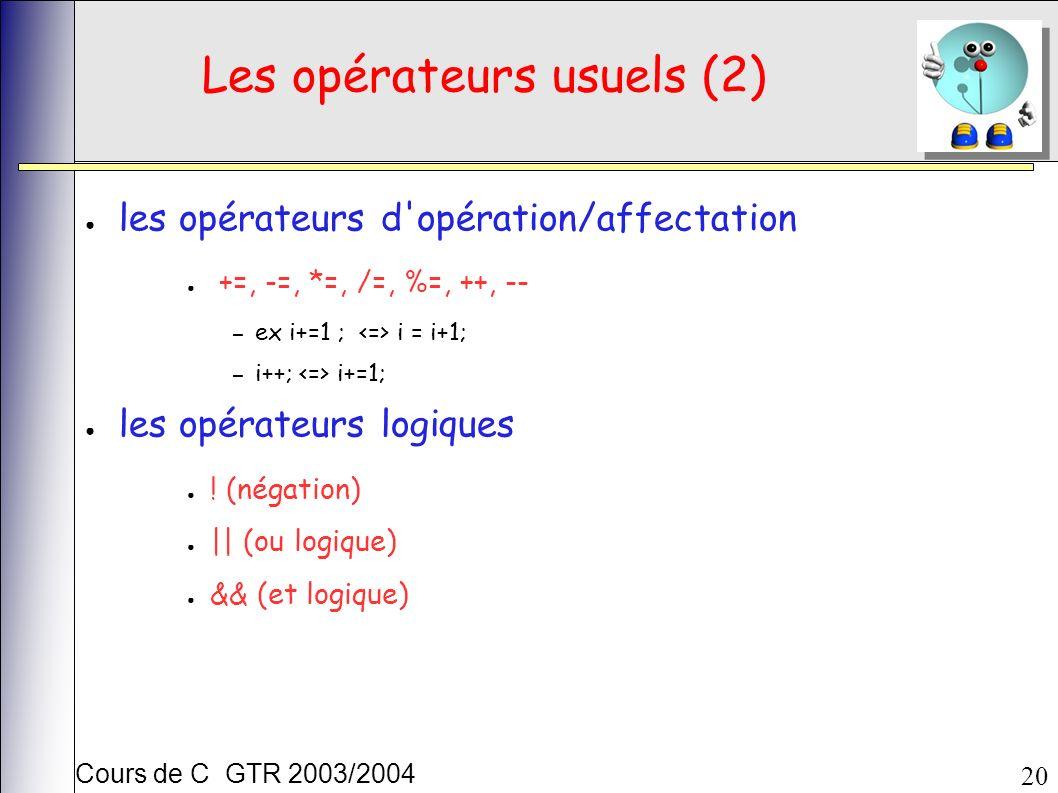Cours de C GTR 2003/2004 20 Les opérateurs usuels (2) les opérateurs d opération/affectation +=, -=, *=, /=, %=, ++, -- – ex i+=1 ; i = i+1; – i++; i+=1; les opérateurs logiques .