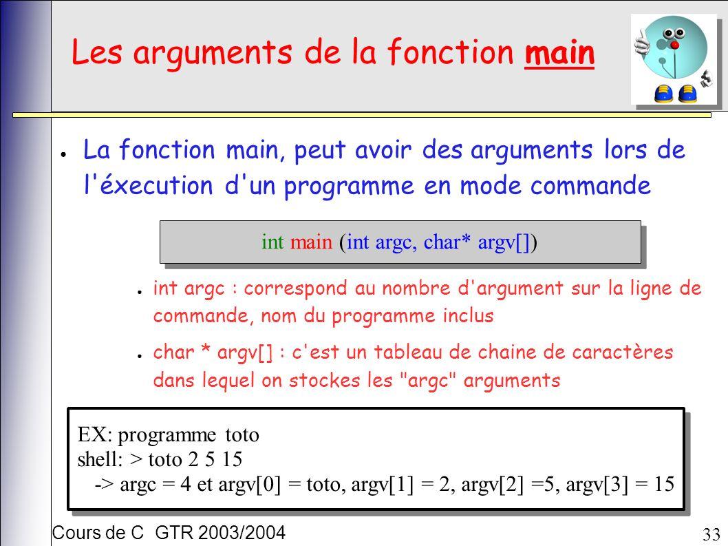Cours de C GTR 2003/2004 33 Les arguments de la fonction main La fonction main, peut avoir des arguments lors de l éxecution d un programme en mode commande int main (int argc, char* argv[]) int argc : correspond au nombre d argument sur la ligne de commande, nom du programme inclus char * argv[] : c est un tableau de chaine de caractères dans lequel on stockes les argc arguments EX: programme toto shell: > toto 2 5 15 -> argc = 4 et argv[0] = toto, argv[1] = 2, argv[2] =5, argv[3] = 15 EX: programme toto shell: > toto 2 5 15 -> argc = 4 et argv[0] = toto, argv[1] = 2, argv[2] =5, argv[3] = 15