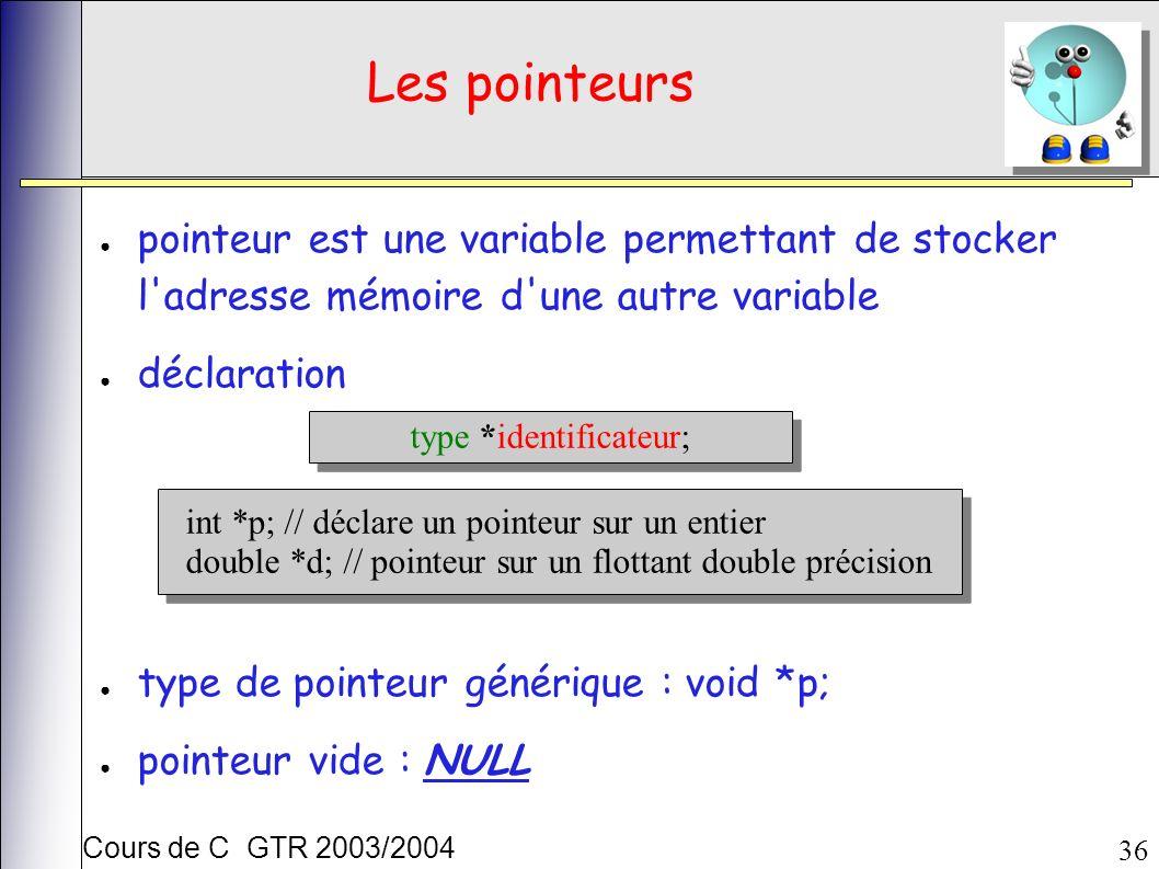 Cours de C GTR 2003/2004 36 Les pointeurs pointeur est une variable permettant de stocker l adresse mémoire d une autre variable déclaration type de pointeur générique : void *p; pointeur vide : NULL type *identificateur; int *p; // déclare un pointeur sur un entier double *d; // pointeur sur un flottant double précision int *p; // déclare un pointeur sur un entier double *d; // pointeur sur un flottant double précision
