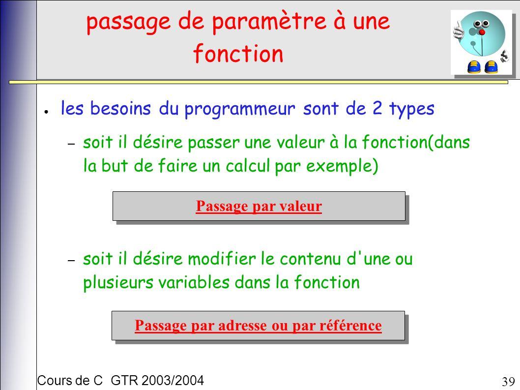 Cours de C GTR 2003/2004 39 passage de paramètre à une fonction les besoins du programmeur sont de 2 types – soit il désire passer une valeur à la fonction(dans la but de faire un calcul par exemple) – soit il désire modifier le contenu d une ou plusieurs variables dans la fonction Passage par valeur Passage par adresse ou par référence