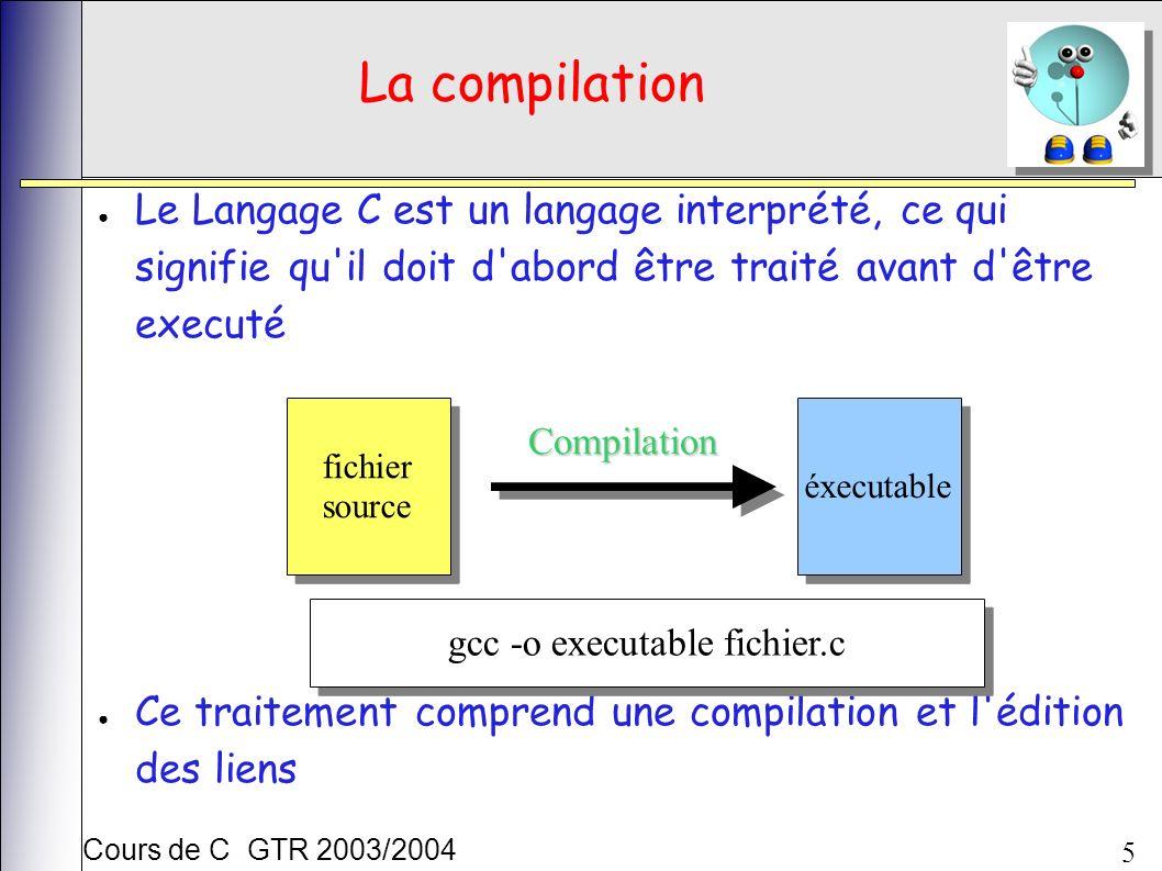 Cours de C GTR 2003/2004 5 La compilation Le Langage C est un langage interprété, ce qui signifie qu il doit d abord être traité avant d être executé Ce traitement comprend une compilation et l édition des liens fichier source fichier source éxecutable Compilation gcc -o executable fichier.c