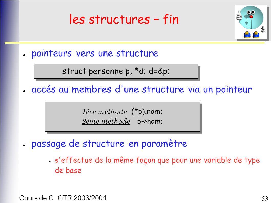 Cours de C GTR 2003/2004 53 les structures – fin pointeurs vers une structure accés au membres d une structure via un pointeur passage de structure en paramètre s effectue de la même façon que pour une variable de type de base struct personne p, *d; d=&p; 1ére méthode (*p).nom; 2ème méthode p->nom; 1ére méthode (*p).nom; 2ème méthode p->nom;