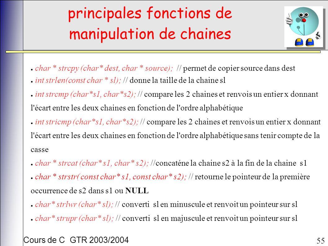 Cours de C GTR 2003/2004 55 principales fonctions de manipulation de chaines char * strcpy (char* dest, char * source); // permet de copier source dans dest int strlen(const char * sl); // donne la taille de la chaine sl int strcmp (char*s1, char*s2); // compare les 2 chaines et renvois un entier x donnant l écart entre les deux chaines en fonction de l ordre alphabétique int stricmp (char*s1, char*s2); // compare les 2 chaines et renvois un entier x donnant l écart entre les deux chaines en fonction de l ordre alphabétique sans tenir compte de la casse char * strcat (char* s1, char* s2); //concaténe la chaine s2 à la fin de la chaine s1 char * strstr( const char* s1, const char* s2); // retourne le pointeur de la première occurrence de s2 dans s1 ou NULL char* strlwr (char* sl); // converti sl en minuscule et renvoit un pointeur sur sl char* strupr (char* sl); // converti sl en majuscule et renvoit un pointeur sur sl