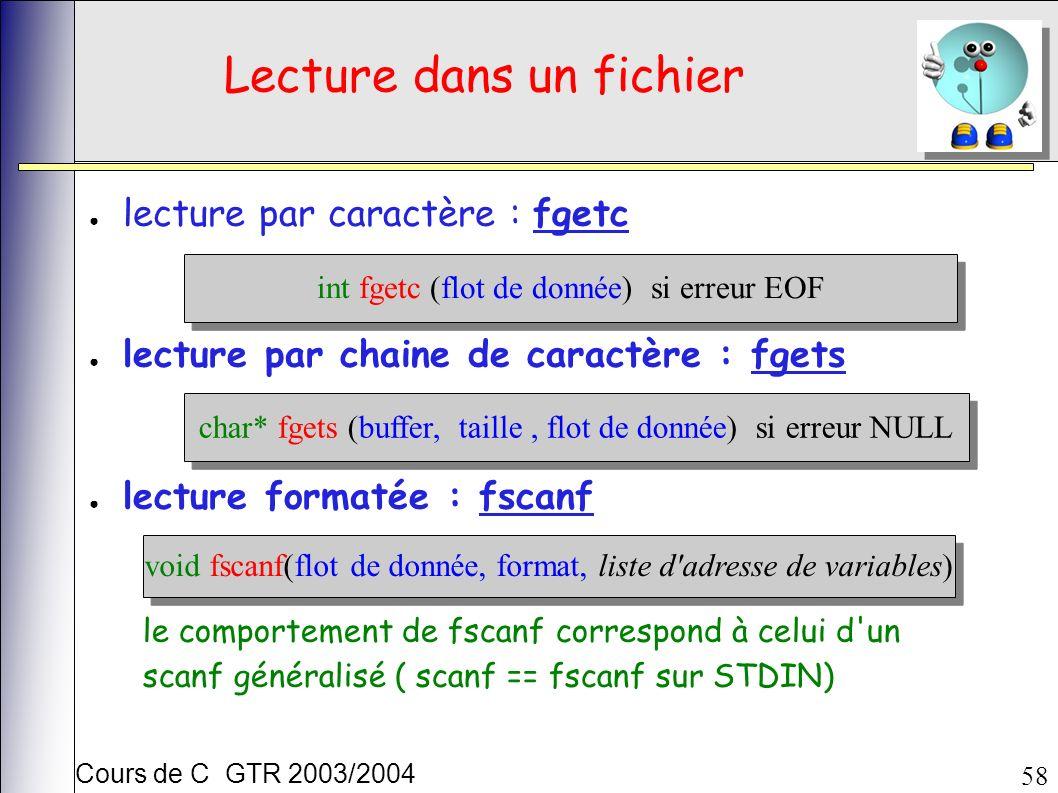Cours de C GTR 2003/2004 58 Lecture dans un fichier lecture par caractère : fgetc lecture par chaine de caractère : fgets lecture formatée : fscanf int fgetc (flot de donnée) si erreur EOF char* fgets (buffer, taille, flot de donnée) si erreur NULL void fscanf(flot de donnée, format, liste d adresse de variables) le comportement de fscanf correspond à celui d un scanf généralisé ( scanf == fscanf sur STDIN)