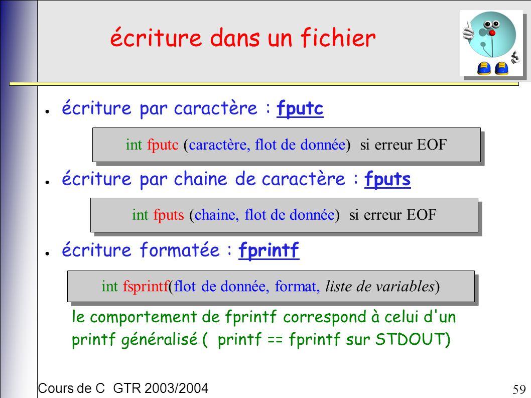 Cours de C GTR 2003/2004 59 écriture dans un fichier écriture par caractère : fputc écriture par chaine de caractère : fputs écriture formatée : fprintf int fputc (caractère, flot de donnée) si erreur EOF int fputs (chaine, flot de donnée) si erreur EOF int fsprintf(flot de donnée, format, liste de variables) le comportement de fprintf correspond à celui d un printf généralisé ( printf == fprintf sur STDOUT)
