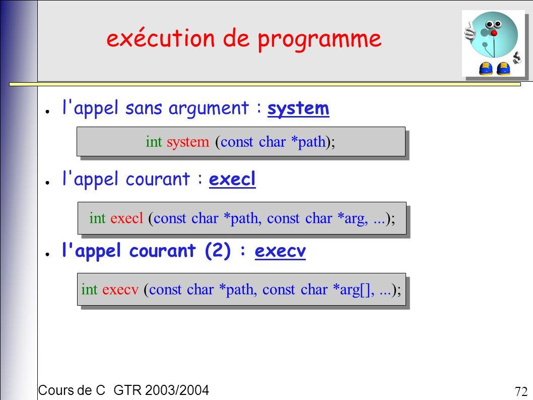 Cours de C GTR 2003/2004 72 exécution de programme l appel sans argument : system l appel courant : execl l appel courant (2) : execv int execl (const char *path, const char *arg,...); int system (const char *path); int execv (const char *path, const char *arg[],...);