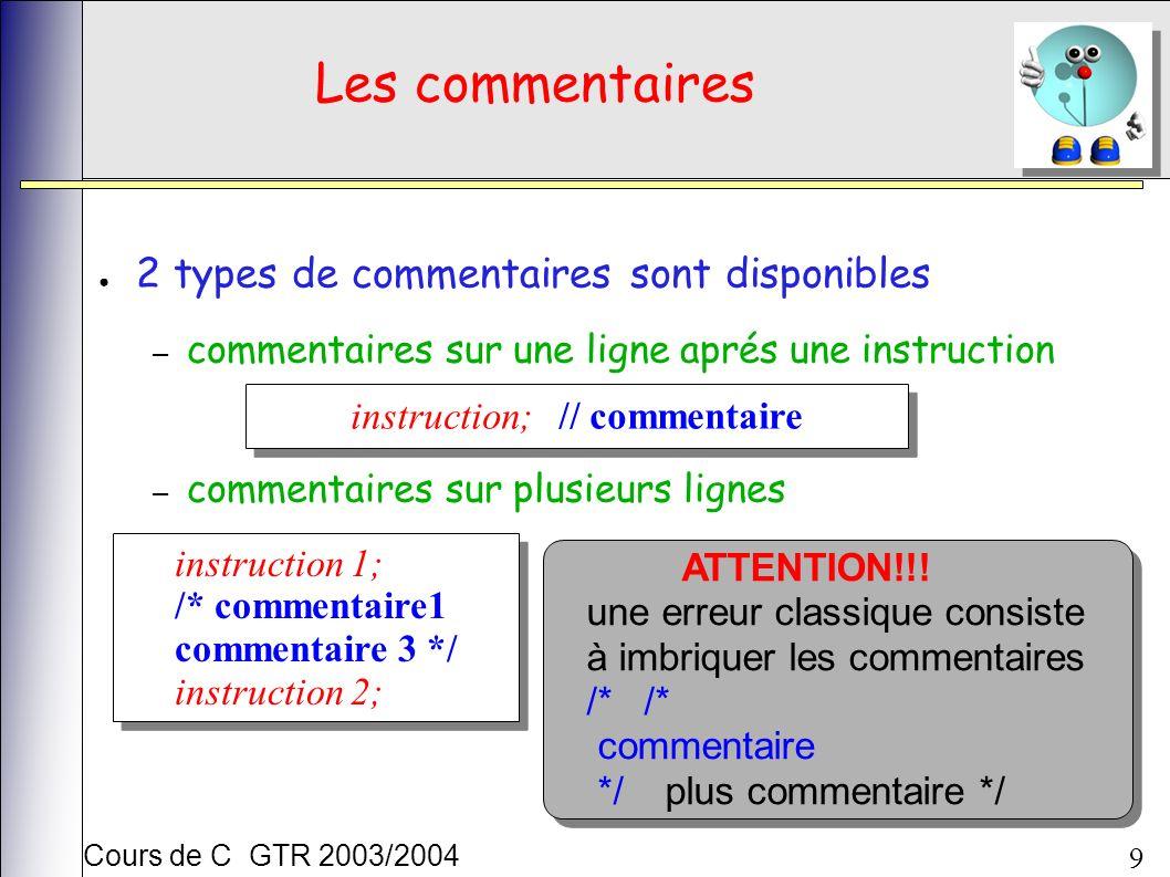 Cours de C GTR 2003/2004 9 Les commentaires 2 types de commentaires sont disponibles – commentaires sur une ligne aprés une instruction – commentaires sur plusieurs lignes instruction; // commentaire instruction 1; /* commentaire1 commentaire 3 */ instruction 2; instruction 1; /* commentaire1 commentaire 3 */ instruction 2; ATTENTION!!.