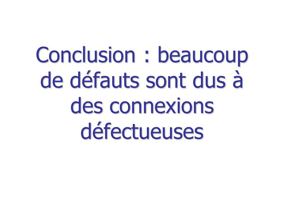 Conclusion : beaucoup de défauts sont dus à des connexions défectueuses
