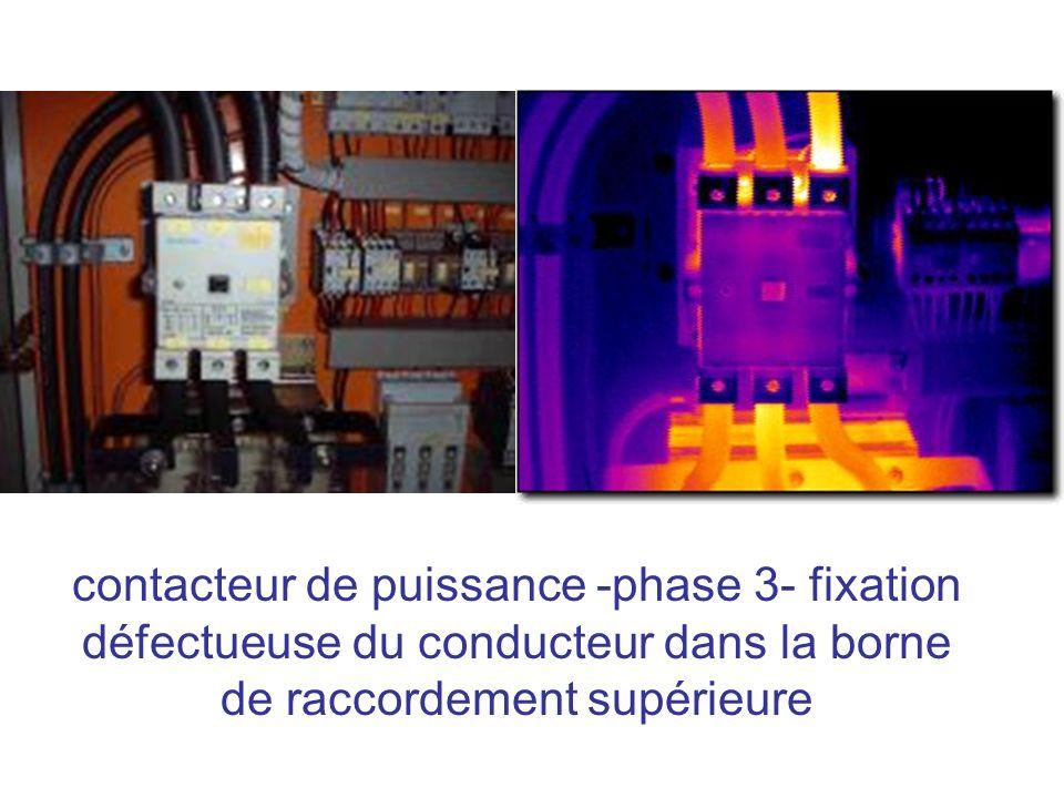 contacteur de puissance -phase 3- fixation défectueuse du conducteur dans la borne de raccordement supérieure