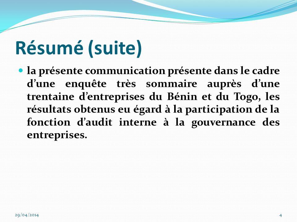 Mots clés Audit interne-gouvernance-référentiel daudit interne 29/04/20145