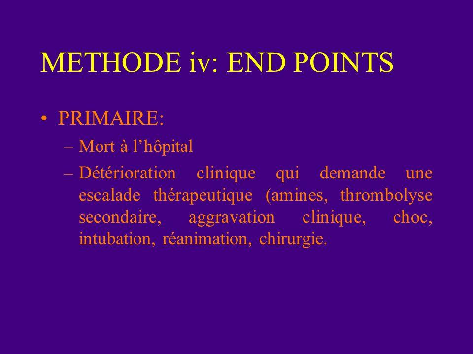 METHODE iii: Etude Prospectif - Randomisé et Double-aveugle 1997 - 2001 en Allemagne Patients reçoivent 5000 U HNF Groupe alteplase: 100 mg 2 groupes liquémine 1000 U/heures puis adapté pour un aPTT entre 2 et 2.5 fois la norme Anti-coagulation orale à partir du jour 3 (INR 2.5 et 3.5)
