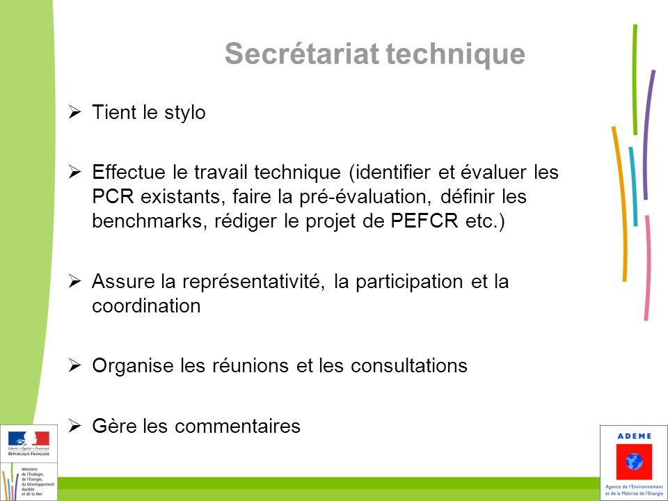 Secrétariat technique Tient le stylo Effectue le travail technique (identifier et évaluer les PCR existants, faire la pré-évaluation, définir les benc