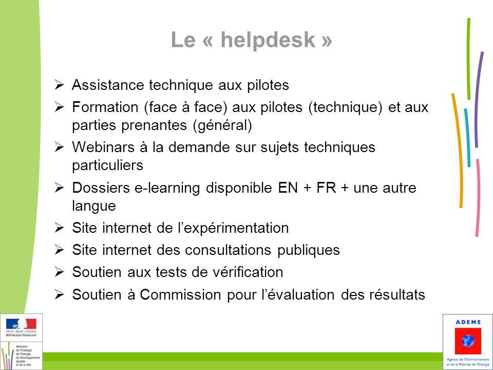 Le « helpdesk » Assistance technique aux pilotes Formation (face à face) aux pilotes (technique) et aux parties prenantes (général) Webinars à la dema