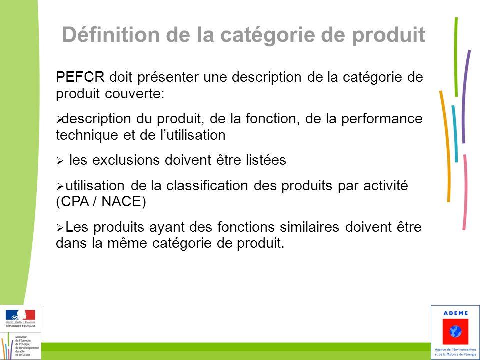 19 Définition de la catégorie de produit PEFCR doit présenter une description de la catégorie de produit couverte: description du produit, de la fonct