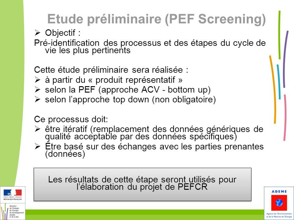 Etude préliminaire (PEF Screening) Objectif : Pré-identification des processus et des étapes du cycle de vie les plus pertinents Cette étude prélimina