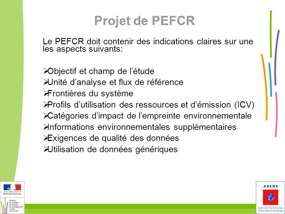 25 Projet de PEFCR Le PEFCR doit contenir des indications claires sur une les aspects suivants: Objectif et champ de létude Unité danalyse et flux de