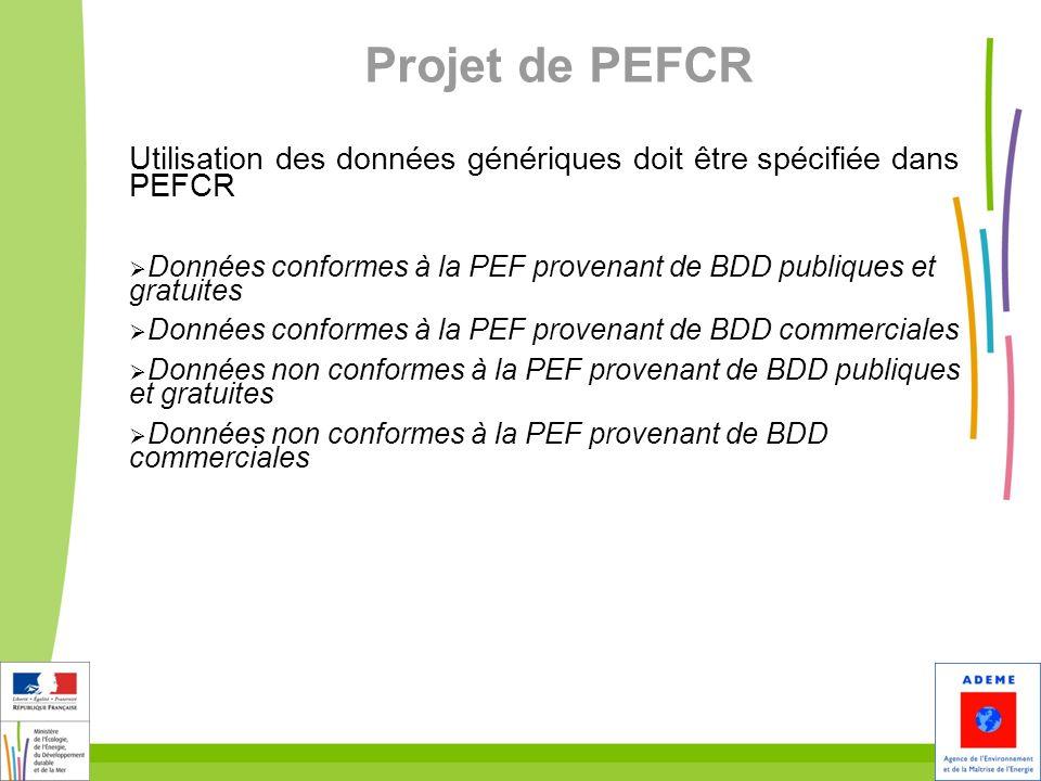 26 Projet de PEFCR Utilisation des données génériques doit être spécifiée dans PEFCR Données conformes à la PEF provenant de BDD publiques et gratuite