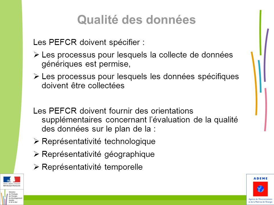 27 Qualité des données Les PEFCR doivent spécifier : Les processus pour lesquels la collecte de données génériques est permise, Les processus pour les