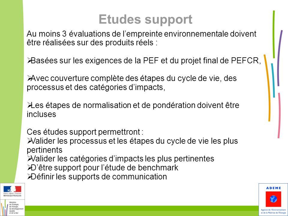 30 Etudes support Au moins 3 évaluations de lempreinte environnementale doivent être réalisées sur des produits réels : Basées sur les exigences de la