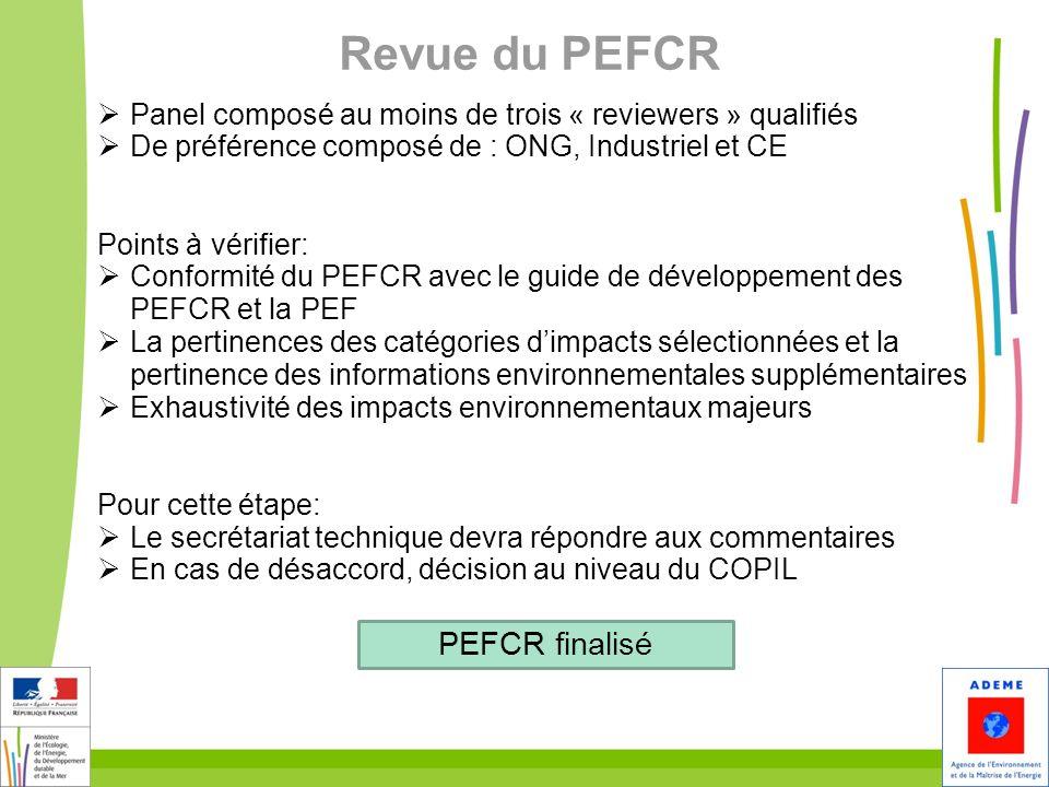 34 Revue du PEFCR Panel composé au moins de trois « reviewers » qualifiés De préférence composé de : ONG, Industriel et CE Points à vérifier: Conformi