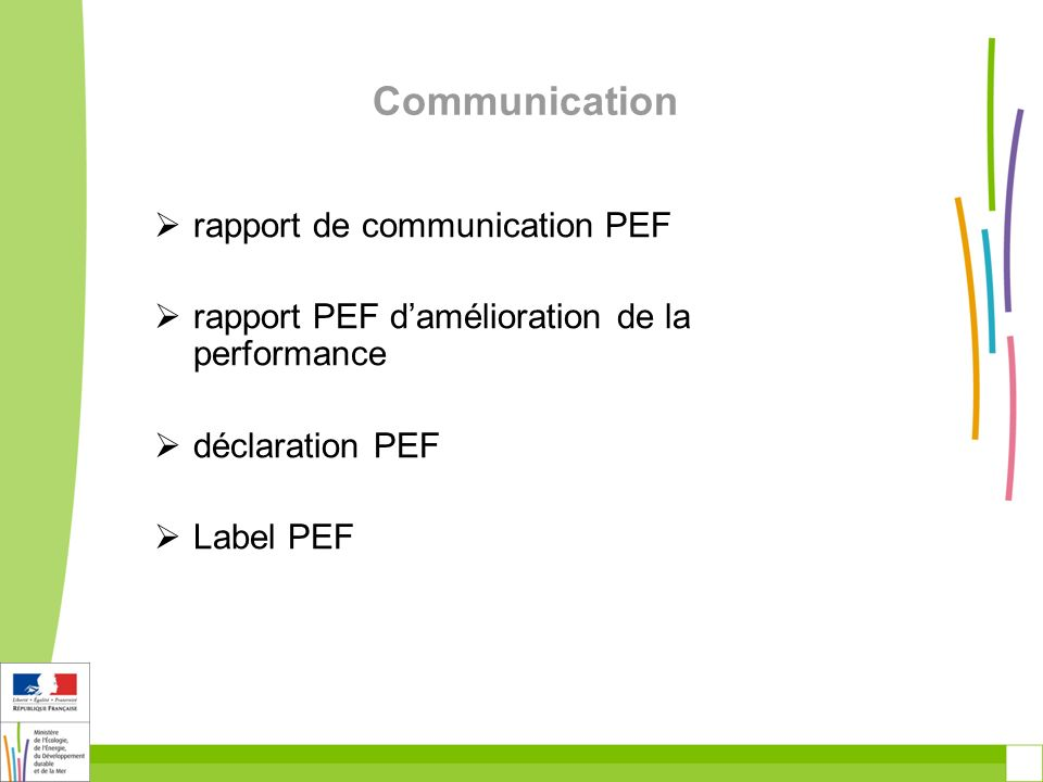 Communication rapport de communication PEF rapport PEF damélioration de la performance déclaration PEF Label PEF