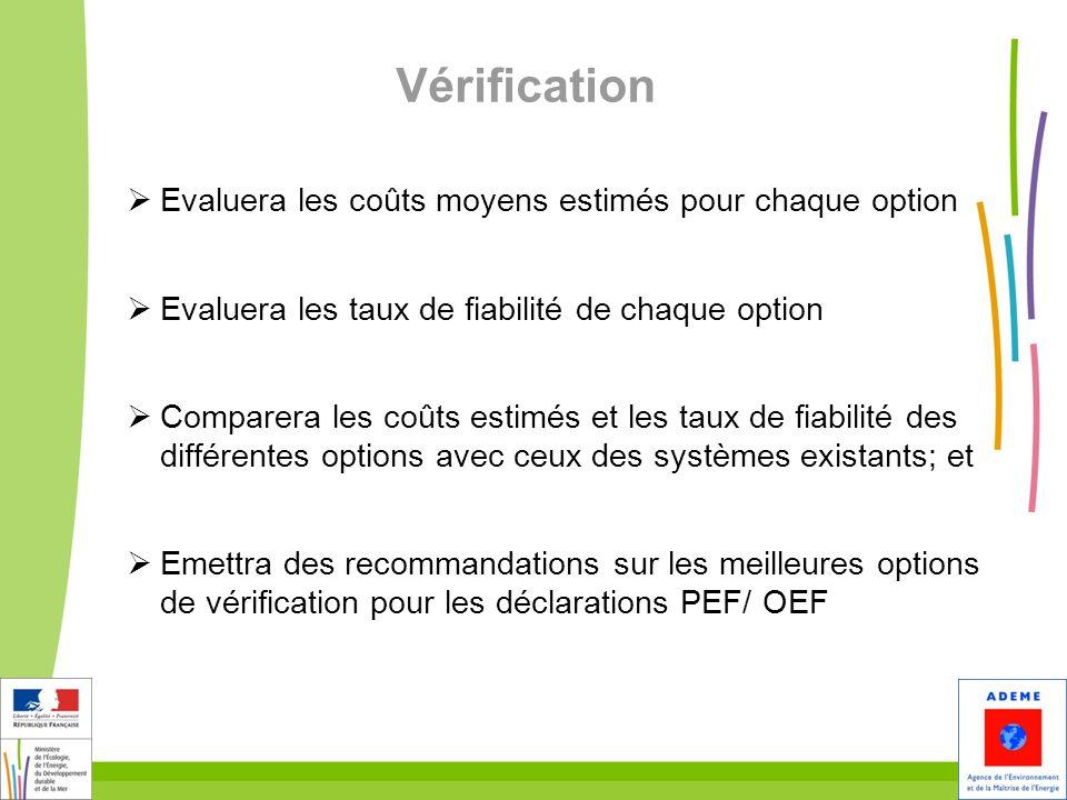 9 Vérification Evaluera les coûts moyens estimés pour chaque option Evaluera les taux de fiabilité de chaque option Comparera les coûts estimés et les