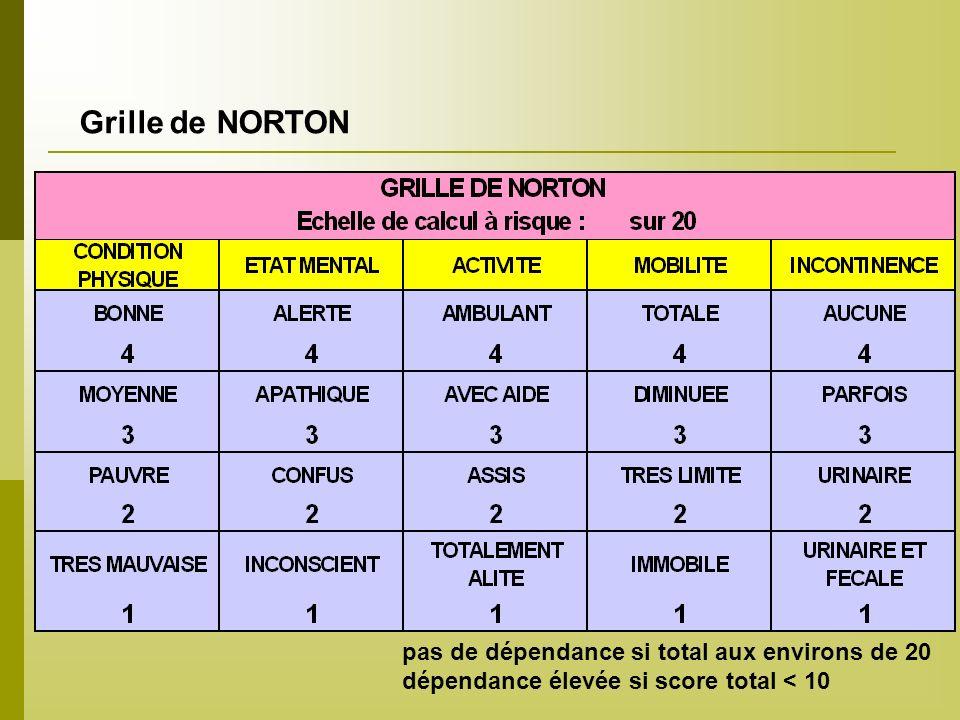 Grille de NORTON pas de dépendance si total aux environs de 20 dépendance élevée si score total < 10