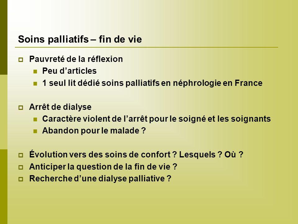Soins palliatifs – fin de vie Pauvreté de la réflexion Peu darticles 1 seul lit dédié soins palliatifs en néphrologie en France Arrêt de dialyse Carac