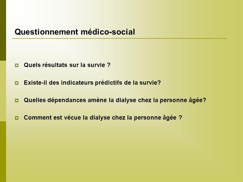 Questionnement médico-social Quels résultats sur la survie ? Existe-il des indicateurs prédictifs de la survie? Quelles dépendances amène la dialyse c