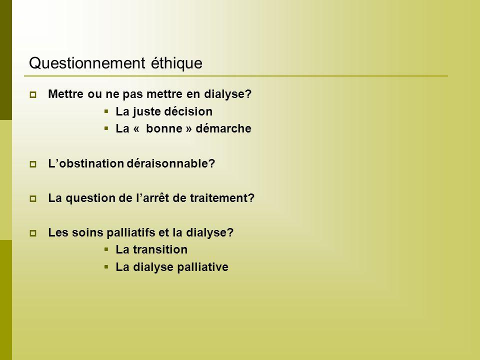 Questionnement éthique Mettre ou ne pas mettre en dialyse? La juste décision La « bonne » démarche Lobstination déraisonnable? La question de larrêt d