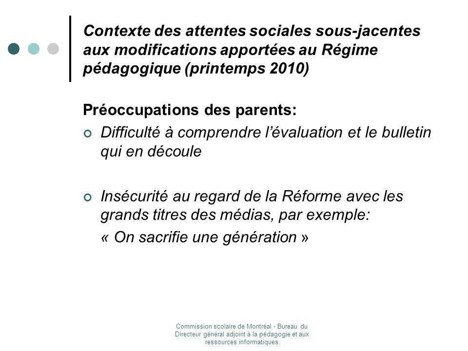 Commission scolaire de Montréal - Bureau du Directeur général adjoint à la pédagogie et aux ressources informatiques Sessions de formation du MELS