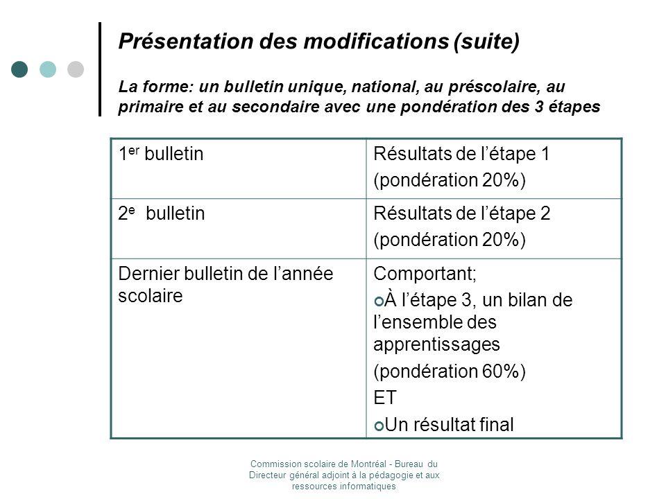 Commission scolaire de Montréal - Bureau du Directeur général adjoint à la pédagogie et aux ressources informatiques Présentation des modifications (suite) Extrait du bulletin national (primaire, 2 e cycle)