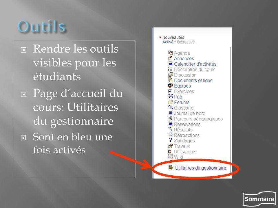 Sommaire Rendre les outils visibles pour les étudiants Page daccueil du cours: Utilitaires du gestionnaire Sont en bleu une fois activés