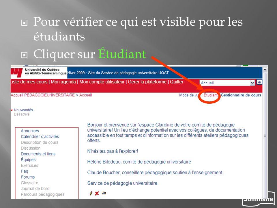 Sommaire Pour vérifier ce qui est visible pour les étudiants Cliquer sur Étudiant