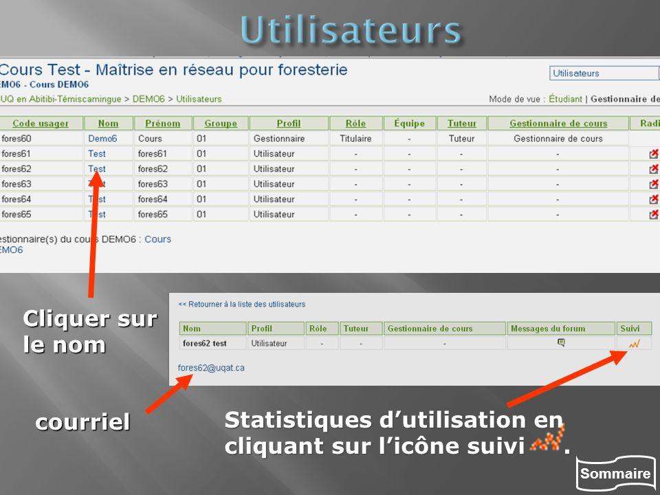 Sommaire Statistiques dutilisation en cliquant sur licône suivi. Cliquer sur le nom courriel