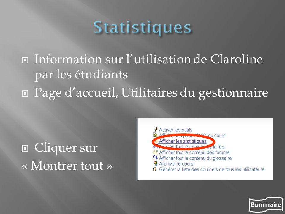 Sommaire Information sur lutilisation de Claroline par les étudiants Page daccueil, Utilitaires du gestionnaire Cliquer sur « Montrer tout »