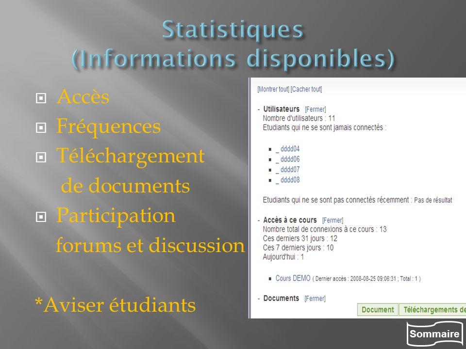 Sommaire Accès Fréquences Téléchargement de documents Participation forums et discussion *Aviser étudiants