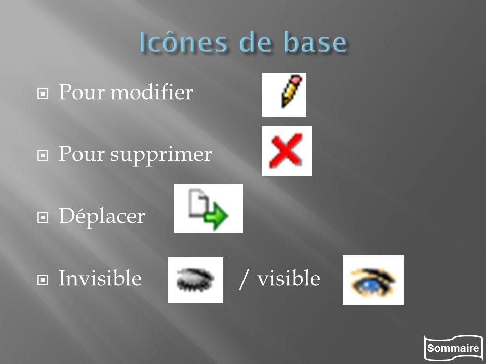 Sommaire Pour modifier Pour supprimer Déplacer Invisible / visible