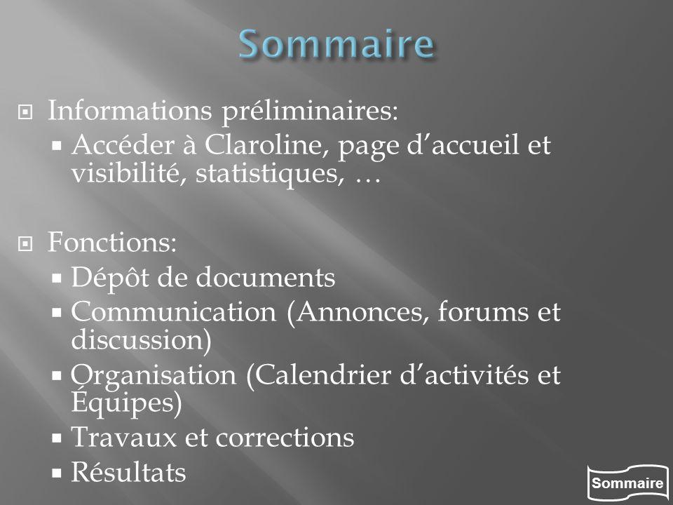 Sommaire Informations préliminaires: Accéder à Claroline, page daccueil et visibilité, statistiques, … Fonctions: Dépôt de documents Communication (An