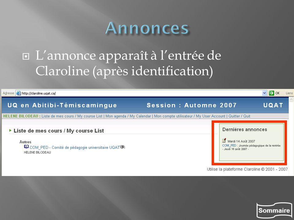 Sommaire Lannonce apparaît à lentrée de Claroline (après identification)