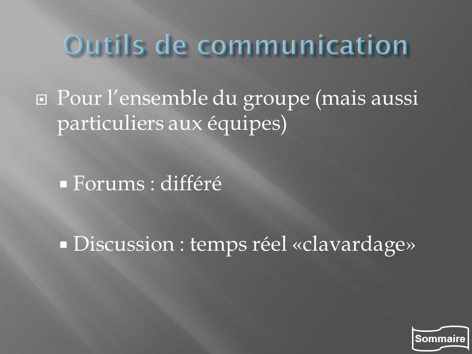 Sommaire Pour lensemble du groupe (mais aussi particuliers aux équipes) Forums : différé Discussion : temps réel «clavardage»