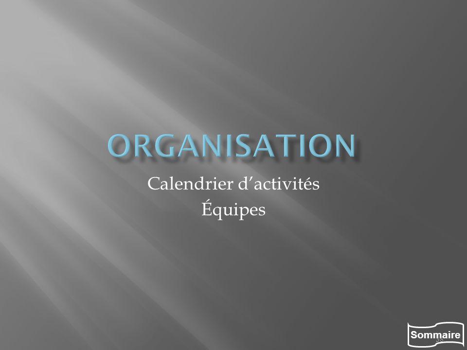 Sommaire 38 Calendrier dactivités Équipes