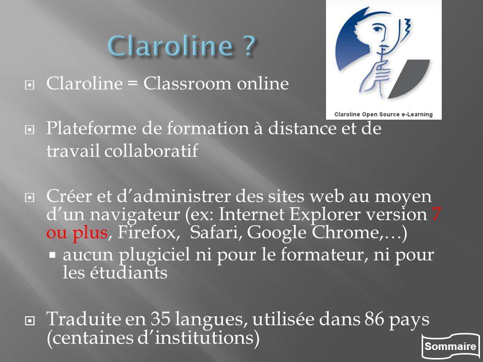 Sommaire Claroline = Classroom online Plateforme de formation à distance et de travail collaboratif Créer et dadministrer des sites web au moyen dun n